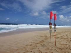 【エフカイ・ビーチ】冬のサーフシーズン中は、遊泳禁止のサインが出ることも