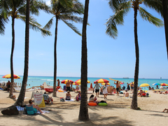 【ワイキキ・ビーチ】観光客で賑わうビーチ