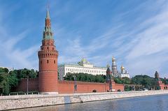 【クレムリン】モスクワ川から見たクレムリン。モスクワ川クルーズの船からこの景色が見られる