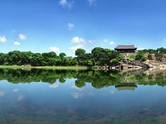 【晋州城】晋州南江に映る矗石楼(チョッソンヌ)