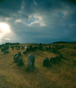 【リンホルム・ホイエ(古代の墓地跡)】石の配置がそれぞれ