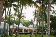 【ヌヌ】ヤシの木に囲まれた海沿いのレストラン