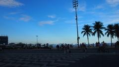 【コパカバーナ海岸】ヤシの木が並ぶビーチ
