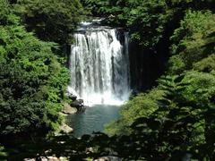 【天帝淵瀑布(テンテイフチバクフ)】済州島最大規模の滝、天帝淵瀑布