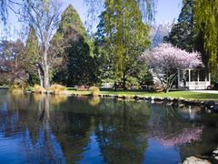 【クイーンズタウン・ガーデンズ】ガーデン内の池。晴れの日はのんびり昼寝をしたり読書をする人々で溢れる